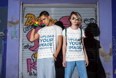 T-Shirt Mockup of a Man and a Woman in an Urban Setting M552