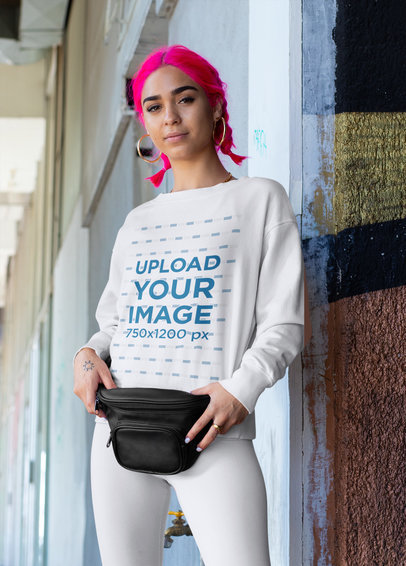 Sweatshirt Mockup Featuring a Woman with Pink-Dyed Hair m422