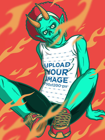 Illustrated Tank Top Mockup of a Female Demon with a Trendy Style m804