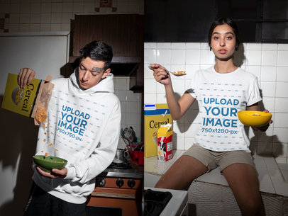 Hoodie and T-Shirt Mockup of a Man and Woman Eating Cereal m621