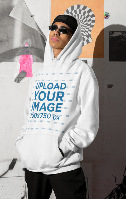 Pullover Hoodie Mockup of a Man with Sunglasses by an Urban Wall m565