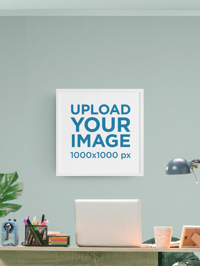 Art Print Mockup with a Customizable Office Setting m905