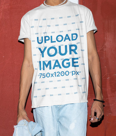 Cropped Face Mockup Featuring a Young Man Wearing a Long Tee m564