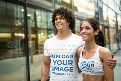 Sports Bra and T-Shirt Mockup Featuring a Couple Walking to the Gym 45301-r-el2