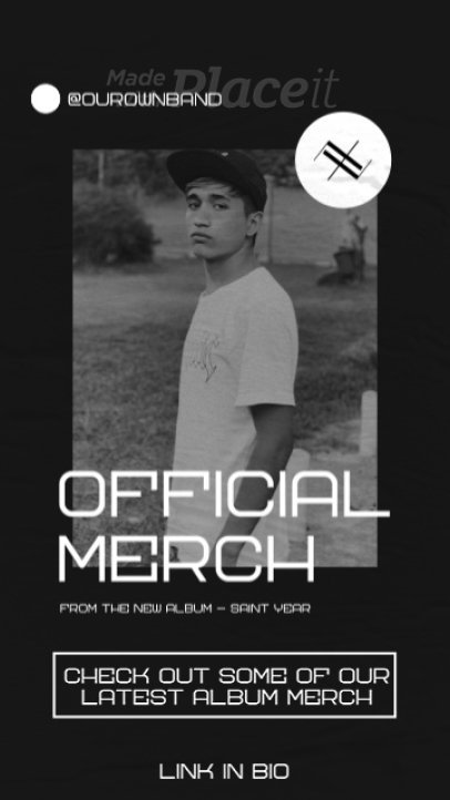 Instagram Story Video Maker for an Indie Rock Band's Official Merch Announcement 2482-el1