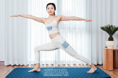 Tank Top and Leggings Mockup of a Woman Standing on a Yoga Mat 41156-r-el2