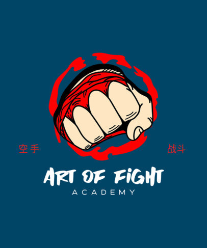 Box T-Shirt Design Template Featuring a Graphic of a Man's Fist 3203b