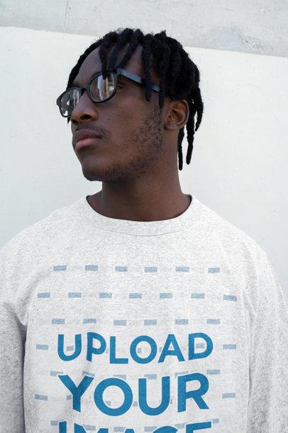 Heather Sweatshirt Mockup of a Man with Locs and Glasses 45274-r-el2
