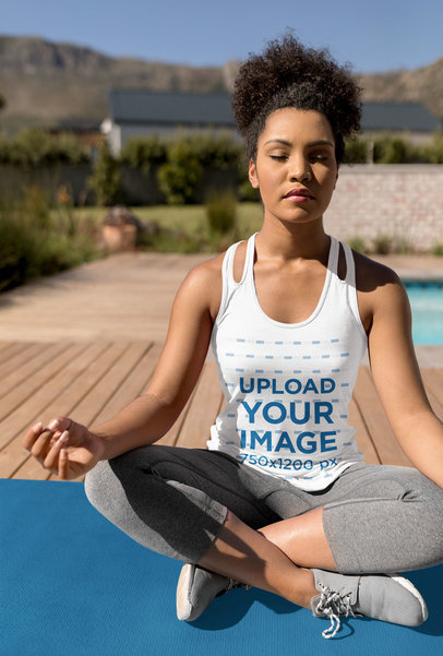 Tank Top Mockup of a Woman Doing Yoga and Getting Sunlight 40985-r-el2