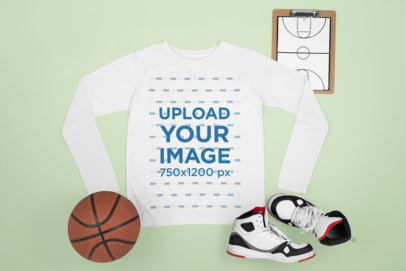 Long Sleeve Tee Mockup Featuring Basketball Sneakers and a Ball m662