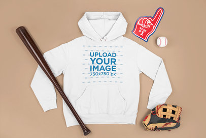 Mockup of a Pullover Hoodie Surrounded by Baseball Equipment m657