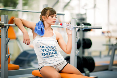 Tank Top Mockup of a Woman Working Out at the Gym 37753-r-el2