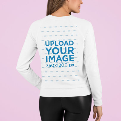Back-View Sweatshirt Mockup of a Woman Standing in a Studio m761