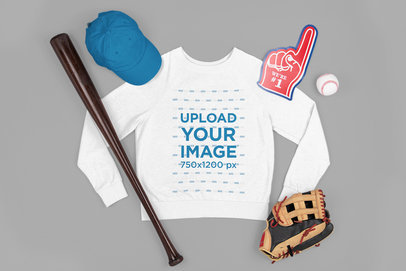 Sweatshirt Mockup Featuring Baseball Paraphernalia m666