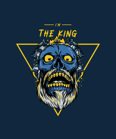 T-Shirt Design Template Featuring a Skeleton King 3284b-el1