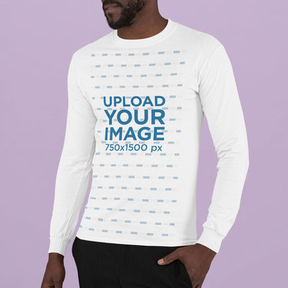 Long Sleeve Tee Mockup Featuring a Bearded Man in a Studio m742