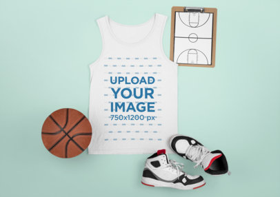 Tank Top Mockup Featuring Basketball Ornaments M688