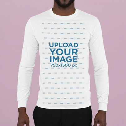 Long Sleeve Tee Mockup of a Bearded Man at a Studio m741