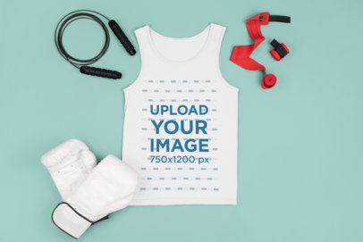 Tank Top Mockup Featuring Boxing Training Gear m674