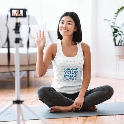 Tank Top Mockup of a Woman Recording a Yoga Tutorial 43904-r-el2