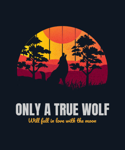 T-Shirt Design Creator Featuring a Silhouette of a Wolf Howling at the Moon 3229j
