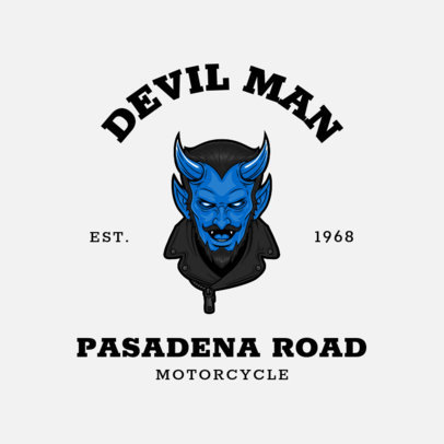 Logo Template for a Biker Club with an Illustration of a Blue Devil 3276c-el1