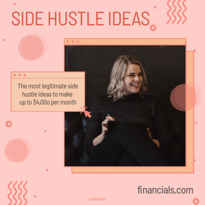 Memphis Style Instagram Post Template for Side Hustle Ideas 3235c