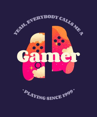 T-Shirt Design Template with a Controller Silhouette for Gamers 3227d