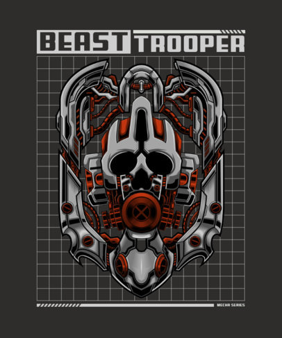 Sci-Fi T-Shirt Design Template Featuring a Giant Robot 3288c-el1