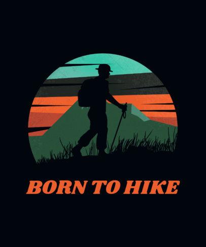 Adventure T-Shirt Design Template Featuring a Silhouette of a Hiker 3229f