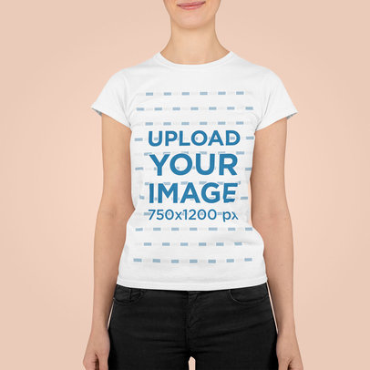 T-Shirt Mockup Featuring a Smiling Woman at a Studio m841