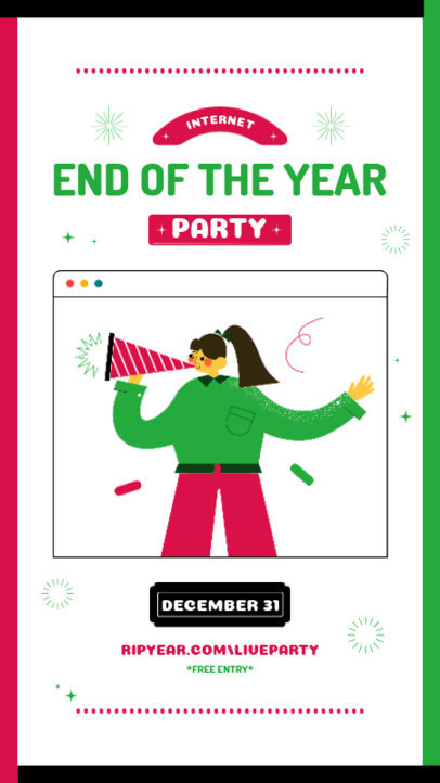 Illustrated Instagram Story Generator for a New Year's Eve Online Party 3260a-el1
