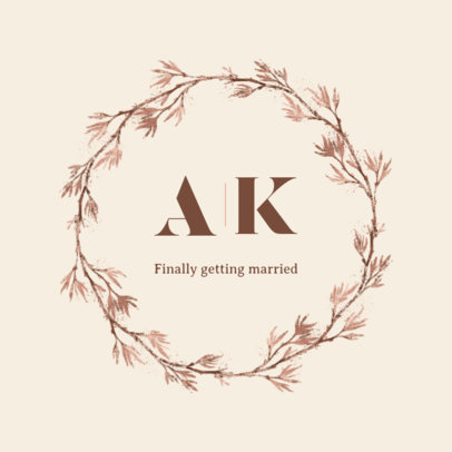 Wedding Logo Maker Featuring a Minimal Wreath and Fine Lettering 3918h