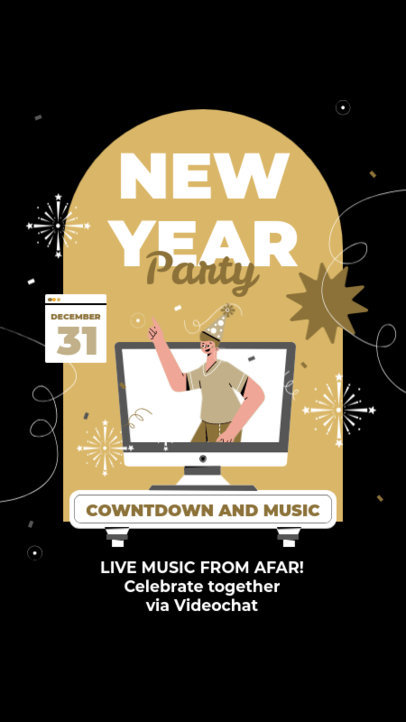 Instagram Story Template for a New Year's Eve Online Gathering 3262e-el1