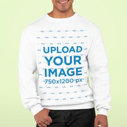 Simple Mockup of a Man Wearing a Sweatshirt in a Studio M824
