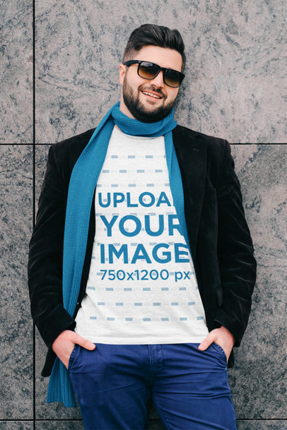 Mockup of a Happy Man Wearing a Plus Size Heathered T-Shirt 45575-r-el2