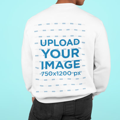Back View Mockup Featuring a Man With a Sweatshirt Posing Against a Solid Color Backdrop m825