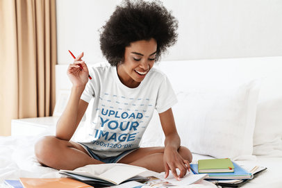 T-Shirt Mockup of a Woman Studying in Her Room 45286-r-el2