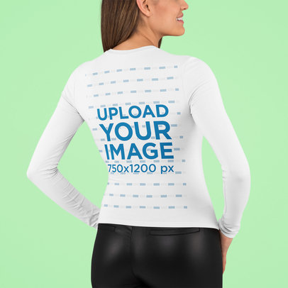 Back View Mockup of a Woman Wearing a Long Sleeve Tee in a Studio m759