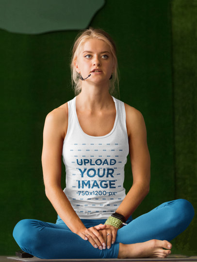 Tank Top Mockup of a Female Yoga Instructor with a Microphone 35914-r-el2