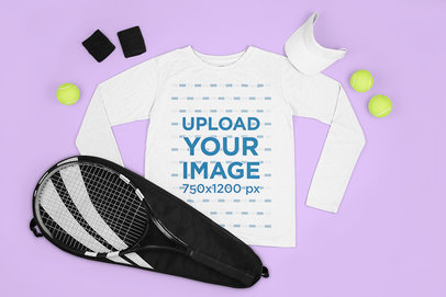 Mockup Featuring a Customizable Long Sleeve Tee Surrounded by Tennis Equipment m661