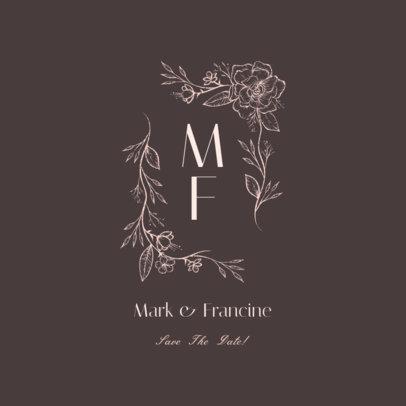 Monogram Wedding Logo Creator Featuring Vintage Floral Ornaments 3917c