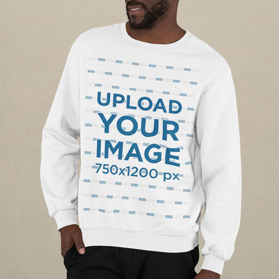 Cropped Face Crewneck Sweatshirt Mockup Featuring a Man Posing m745