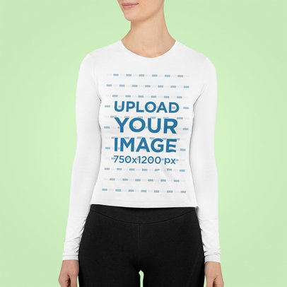Cropped Face Mockup of a Woman Wearing a Long Sleeve Tee m851