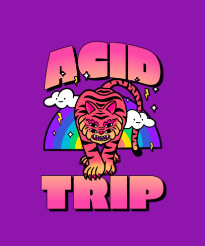 T-Shirt Design Template Featuring Trippy Cartoon Characters 3241