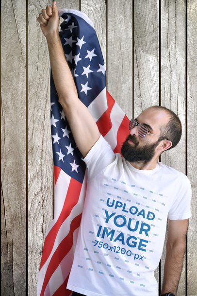 T-Shirt Mockup of a Bearded Man with an American Flag 45631-r-el2