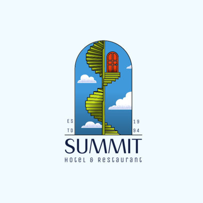 Hotel Logo Template Featuring an Illustrated Archway 3909b