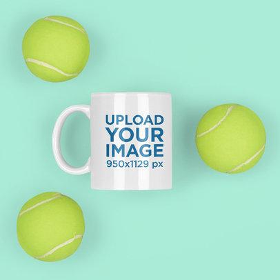 11 oz Coffee Mug Featuring Tennis Balls m682
