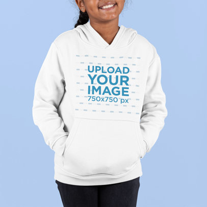 Mockup of a Little Girl Modeling a Hoodie in a Studio m890