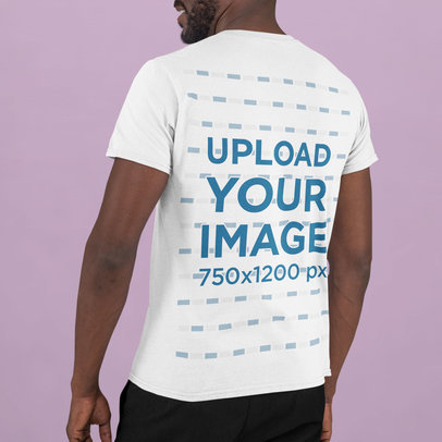 Mockup of the Back of a Young Man Wearing a T-Shirt in a Studio m739